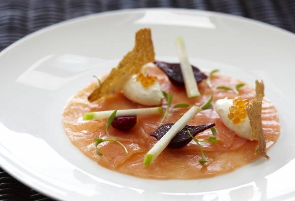 Recipe: House-smoked salmon with wasabi panna cotta, apples and ...